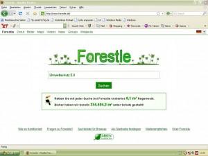 Das schlichte Forestle-Design erinnert an Branchenführer Google – genau wie die Suchergebnisse. Foto: Eike Strunk