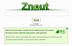 Das schlichte Znout-Design erinnert an Branchenführer Google – und liefert die gleichen Ergebnisse in grün. Foto: Eike Strunk