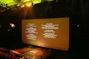 Nach Einbruch der Dunkelheit geht´s los. Vorne Kino - hinten Stadion. Foto: Matti Hesse