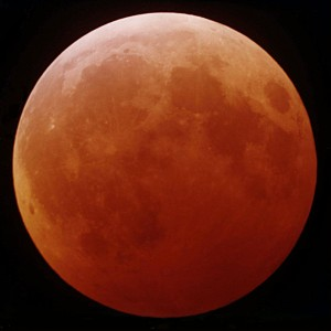 Bei einer totalen Mondfinsternis erscheint der Mond im Erdschatten rötlich. Foto: NASA