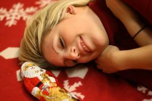 Schokoladenweihnachtsmänner machen glücklich