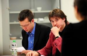 Henning Blunck und Jens Schulze vom Debattierclub der Dortmunder Hochschulen