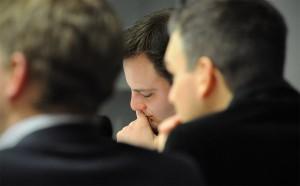 Marc Hövermann kurz vor seiner Abschlussrede für die Liberalen.