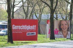 """Die Linke fordert """"Gerechtigkeit"""" - zum Beispiel durch die Abschaffung von Hartz IV. Foto: Sebastian Schaal"""