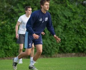 Hagens Jugendnationalspieler Ruben Schwarzmüller in Lauerstellung.