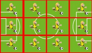 Jeder Spieler hat einen bestimmten Aktionsbereich auf dem Spielfeld. Fliegt einer vom Platz, werden diese Bereiche größer. Grafik: Jonathan Focke
