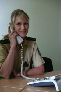 Sonja Rustemeier plant die Einsätze der Polizei auch bei dieser WM. Dabei guckt sie zwar während der Spiele auf den Friedensplatz, die Leinwand kann sie aber nicht sehen.