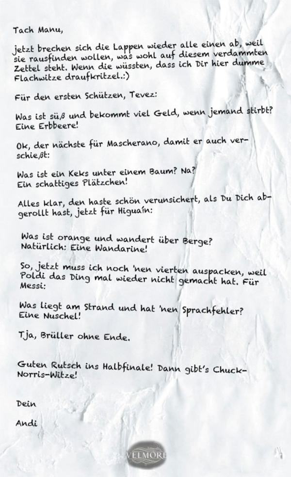 Zettel von Andreas Köpke für Manuel Neuer