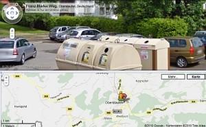 Ein Hauch von Exotik: Fremdartige Recycling-Container in Oberstaufen. (Quelle: Google)