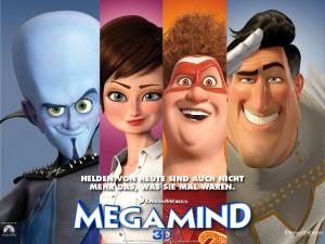 """Megamind, Roxanne, Titan und  Metroman sind die """"Helden"""" des Films. Filmplakat: Dreamworks"""