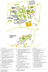 Je nachdem zu welcher Fakultät man gehört, muss man an bestimmten Orten seine Stimme abgeben. Klickt auf das Bild, um den Lageplan zu vergrößern - an den rot markierten Plätzen stehen die Wahlurnen. Grafik: TU Dortmund/Stella Peters