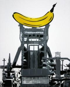 So könnte die Banane auf dem Dach des Hochofens aussehen. Eine Fotomontage von Thies Kiesewetter
