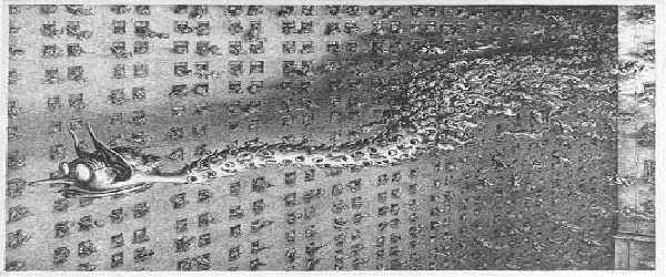 """In Paul Webers Gemälde """"Das Gerücht"""" von 1943 wird das Gerücht als Schlange dargestellt, dem Symbol der Falschheit. Das Gerücht hat hier typische Details: Große Ohren mit denen es Dinge spitzkriegen kann, eine spitze Nase, die sie in alles rein steckt und eine dicke Brille mit der sie dennoch alle nur verzerrt wahrnimmt. Foto:flickr.com/User:Tellmewhat"""