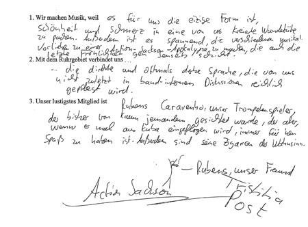 In Handschrift. Action Jackson hat die Fragen der pflichtlektüre beantwortet. Foto: Sebastian Hetheier