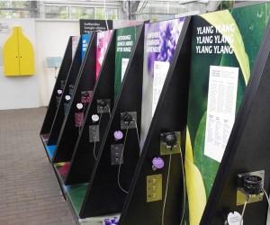 Insgesamt 16 Duftstühle kann der Besucher in Beschlag nehmen und sich per Text und Audio informieren. Und natürlich: riechen. Foto: Paul Crone