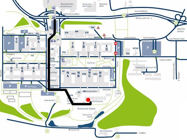 Besonders weil die Parkplätze an der Ruhruniversität im Moment rar sind, lohnt sich die Anreise mit dem ÖPNV. Foto: http://www.ruhr-uni-bochum.de/duft/anfahrt/index.html