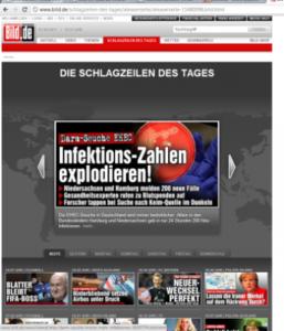Von reißerischen Schlagzeilen sollten die Medien absehen. Präsenz ist aber geboten: Aufklärung verhindert unvorsichtiges Verhalten. Foto: Screenshot/ bild.de