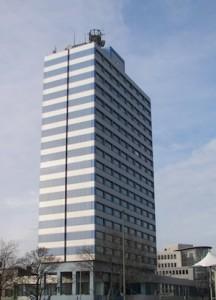 Blaues Hochhaus in Duisburg