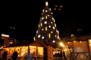 Das Wahrzeichen des Dortmunder Weihnachtsmarkt ist der große Weihnachtsbaum. Fotos: Christian Kleber