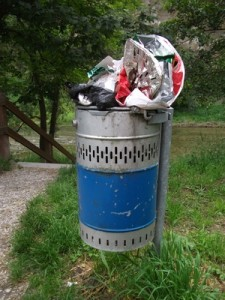 In vollen Mülleimern finden sich oft essbare Lebensmittel. Foto: PeeF / pixelio.de