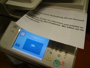 Das Anmelden an den Kopiergeräten ist noch nicht möglich. Foto: Anastasia Mehrens