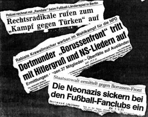 Die Borussenfront sorgte regelmäßig für negative Schlagzeilen. Foto: DAFI Dortmund