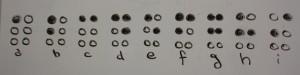 Die Buchstaben von a-i in der Sechs-Punkteschrift. Foto: Hanne Ermann