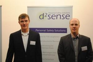 Andreas Lewandowski (li.) und Volker Köster (re.) haben eine Warnsystem für Baustellensicherheit entwickelt. Foto: Christina Schönberger.