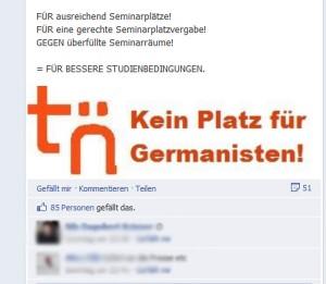 """Auf der Facebook-Präsenz der Fachschaft Germanistik, zeigt ein Logo, dass die Studenten auf gut deutsch """"nich gut drauf sind"""""""