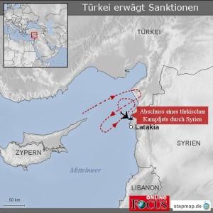 Ungefähr an dieser Stelle wurde das türkische Flugzeug im syrischen Luftraum abgeschossen. Quelle: http://www.stepmap.de/karte/tuerkei-erwaegt-sanktionen-1137374