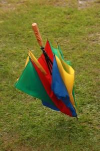 Unabdingbar auf dem Flohmarkt im Westfalenpark: Ein Regenschirm.