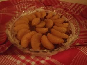 Fertig ist es! Das leckere Dessert aus Quarkcreme, Lebkuchen und Mandarinen. Foto: Jennifer Kotte