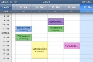 Der Stundenplan auf einen Blick: iStudiezPro. Screenshot: Annabell Brockhues. Teaserbild: pixelio.de/Gerd Altmann