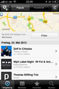 Die Popula-App sucht Veranstaltungen in der Umgebung. Screenshot: Annabell Brockhues