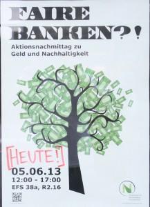 Wie auf dem Plakat für den Aktionsnachmittag zu Geld und Nachhaltigkeit sollte der Baum am Ende des Tages aussehen.