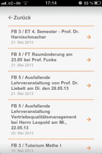 Die App der FH Dortmund zeigt, welche Veranstaltungen ausfallen. Screenshot: Annabell Brockhues