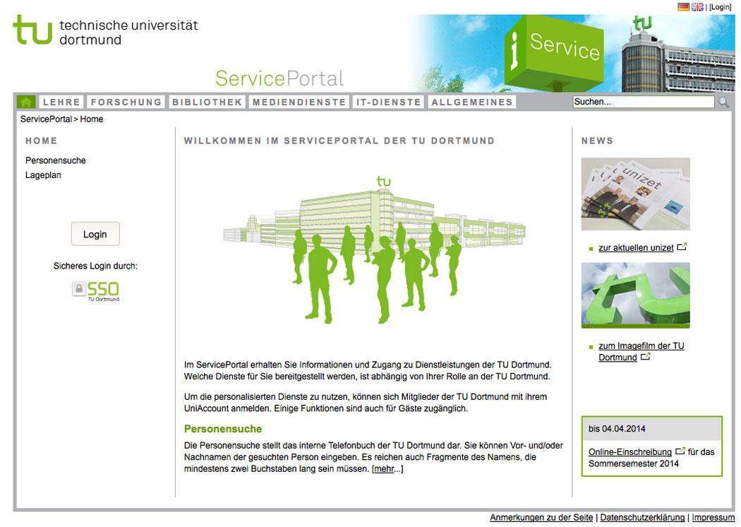 Das zentrale Service-Portal der TU Dortmund
