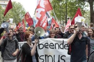 Politik wird für die Linksjugend Solid vor allem auf der Straße gemacht. Hier zum Beispiel bei einer Demo in Frankfurt. Foto: privat