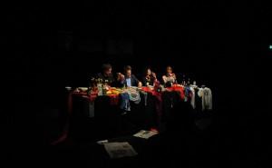 Deniz Yücel, Yassin Musharbash, Mely Kiyak und Moderatorin Doris Akrap (v.l.) beim Hate Poetry in Bochum.