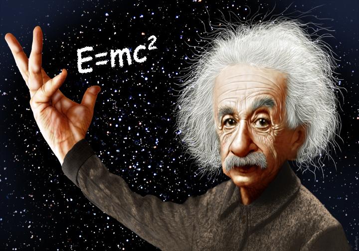 Eine Karikatur von Albert Einstein.