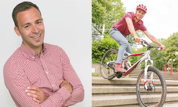 Christoph Edeler ist seit April 2014 Leiter des Hochschulsports. Der begeisterte Mountainbiker hat sich für das Wintersemester vorgenommen, auch mal Yoga und das Cross Campus Fitness Angebot des Hochschulsports auszuprobieren. Foto: Roland Baege
