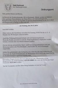 Der Infozettel des Dortmunder Ordnungsamts. Foto: Karsten Kubow