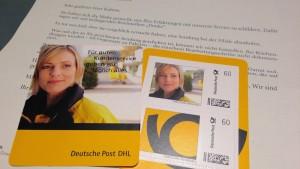 """""""Entschuldigungsbriefmarken"""" und ein Anschreiben."""