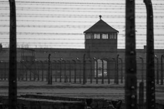 Das Eigangstor von Auschwitz-Birkenau hinter Stacheldraht.