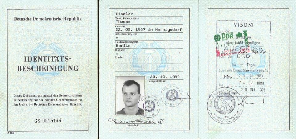 Das letzte Ausweisdokument von Thomas Drescher (geb. Fiedler) aus der DDR.