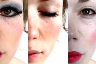 Die Gesichtshälfte einer jungen Frau ist drei mal zu sehen. Sie ist jeweils verschieden geschminkt.