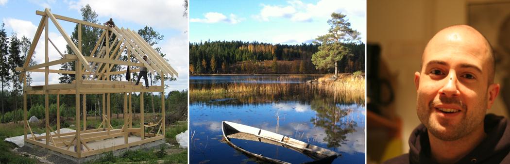 Bildmontage: Bau einer Blockhütte in Schweden und der Hausbesitzer