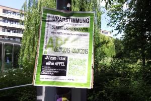 Plakat zur Urabstimmung. Foto: Britta Röös