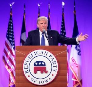 """Donald Trump. Der Verlierer von Iowa. """"Ich werde nie aufgeben."""" Quelle: Flickr Michael Vadon"""