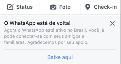 """""""WhatsApp ist wieder da! WhatsApp ist in Brasilien nun aktiv. Sie können wieder mit Freunden und Familie kommunizieren. Danke für Ihre Unterstützung"""", benachrichtigt Facebook seine User. Foto: Leonardo Rosa Nunes"""
